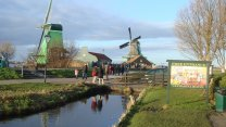 Glorious Dutch Windmills At Zaanse Schans Park In Holland