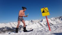 Naked On A Snowboard Down The Austrian Alps In Seefeld