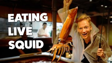 Eating Live Squid in Tokyo